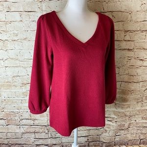 LOFT Womens Puff Sleeve V-Neck Top